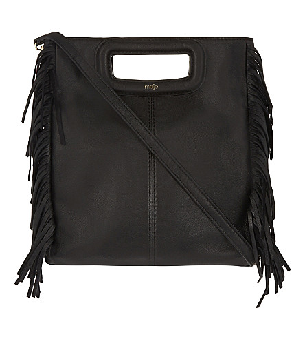 MAJE The M leather cross-body bag (Black