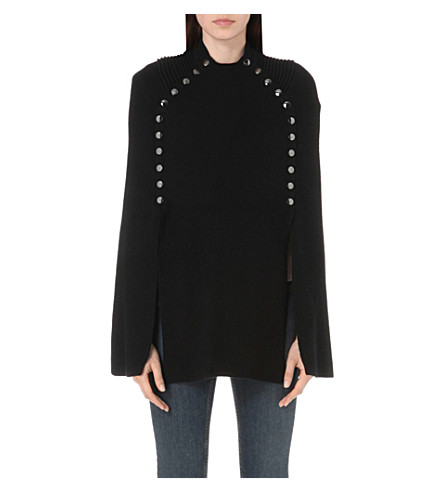MAJE Mood knitted cape (Black