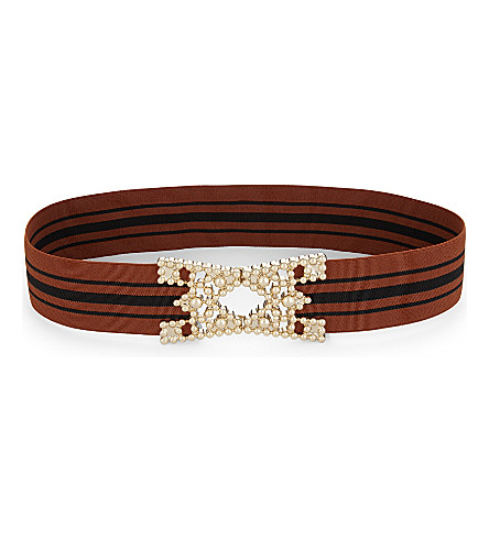 MAJE M buckle elasticated belt (Brick