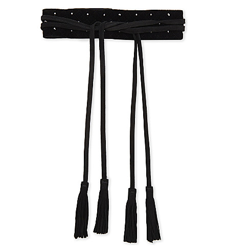MAJE Wide tie belt with studs (Black