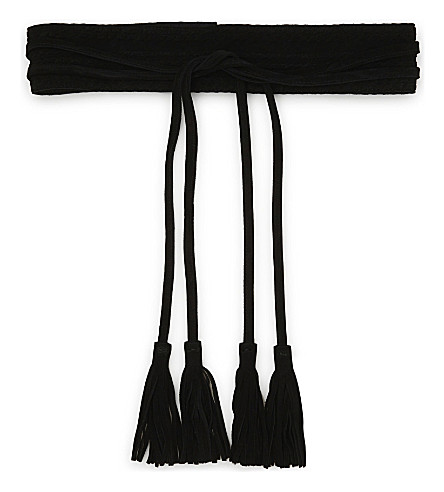 MAJE Anoushka suede belt with tassels (Black+210