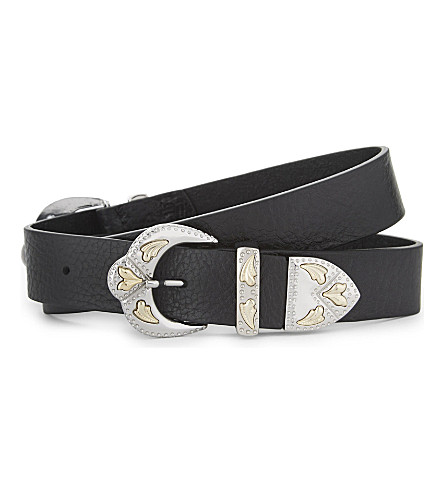 MAJE Double buckle leather belt (Black+210