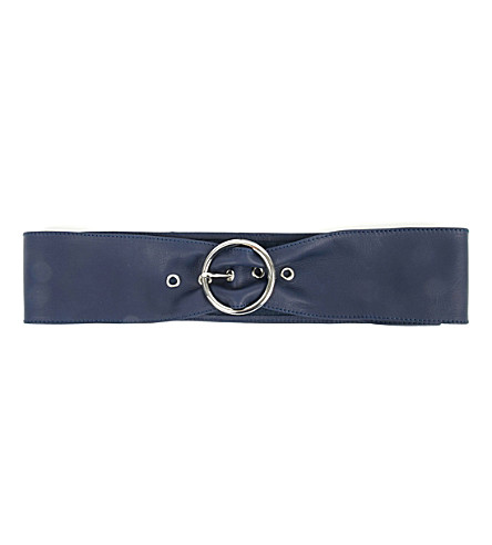 MAJE Large leather belt (Navy