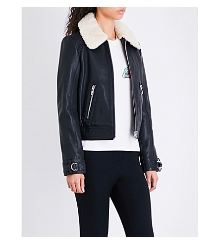 MAJE Bakard shearling-collar leather jacket (Black