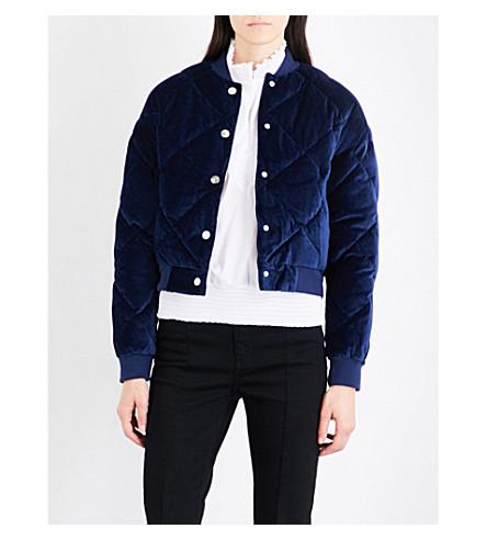 MAJE Balou cotton-velvet bomber jacket (Navy