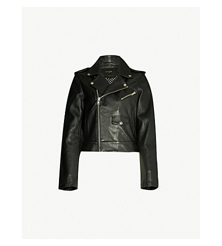 MAJE Baltika leather biker jacket (Black+210