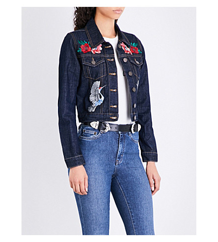 MAJE Barry floral and bird embroidered denim jacket (Blue