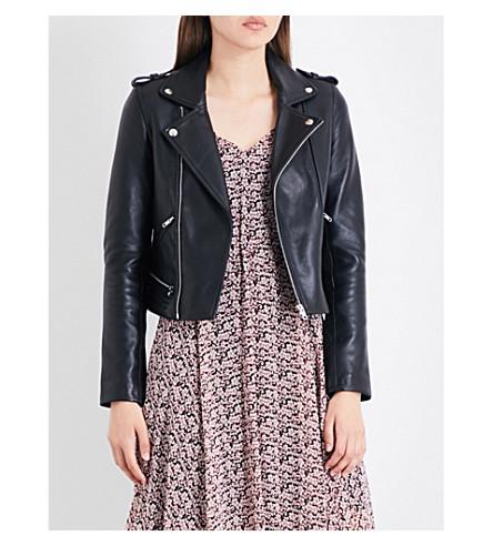 MAJE Basalt leather biker jacket (Black+210