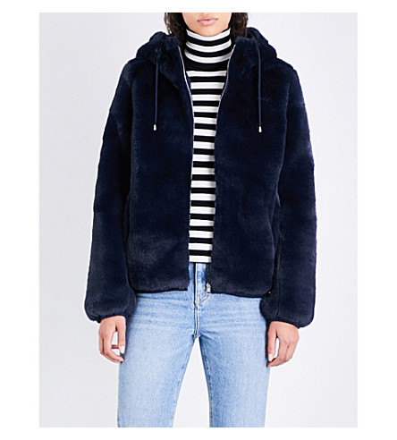 MAJE Baya hooded faux-fur jacket (Blue