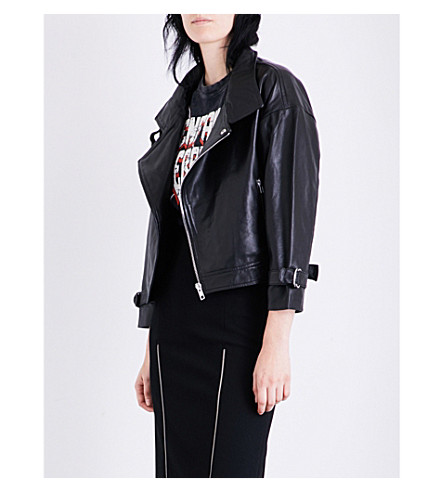 MAJE Beline leather biker jacket (Black+210