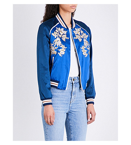 MAJE Bichon floral-embroidered satin jacket (Blue