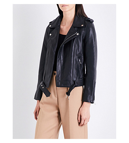 MAJE Bubble leather biker jacket (Black+210