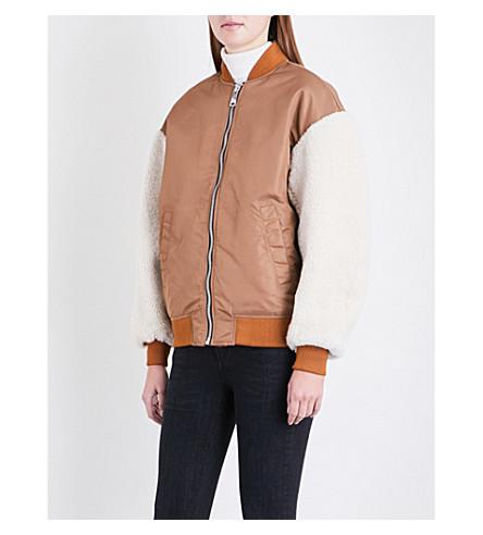 MAJE Maje x Schott Boston shell and shearling bomber jacket (Caramel