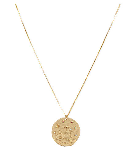 MAJE Capricorn zodiac coin necklace (Gold