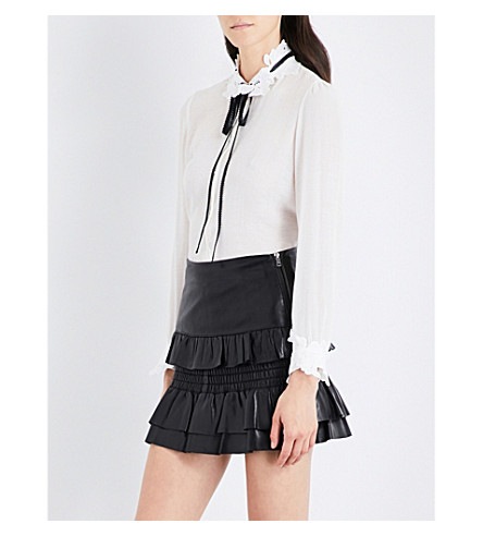 MAJE Cassi lace-collar woven shirt (White