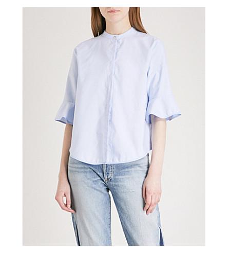 MAJE Charly flared-sleeve cotton shirt (Bleu+ciel