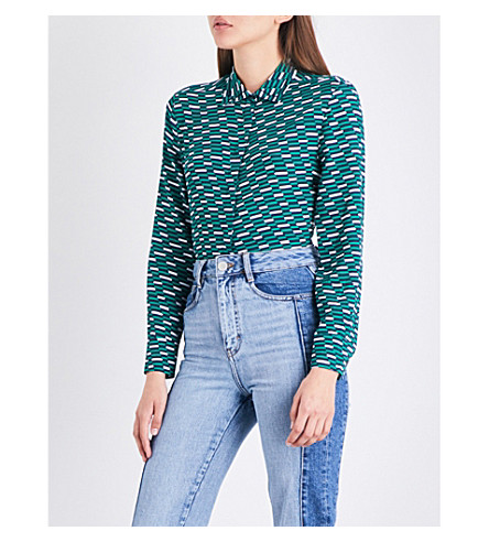 MAJE Clelia geometric-print crepe shirt (Printed