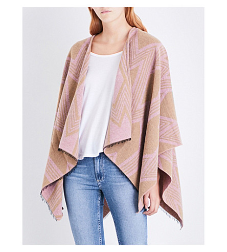MAJE Eclair knitted poncho (Pale+pink