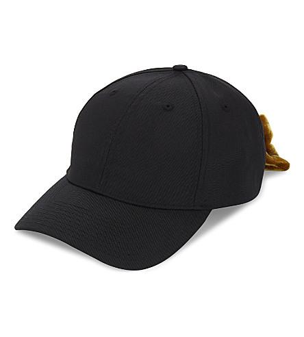 MAJE Egon velvet bow strapback cap (Black+210