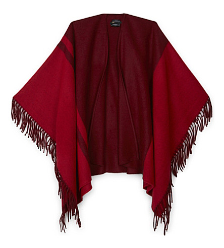 MAJE Colour block fringed poncho (Bordeaux