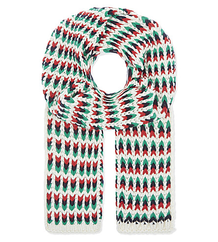 MAJE Emilio jacquard stripe knitted scarf (Multi-coloured