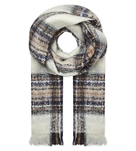 MAJE Tartan mohair-blend scarf (Ecru