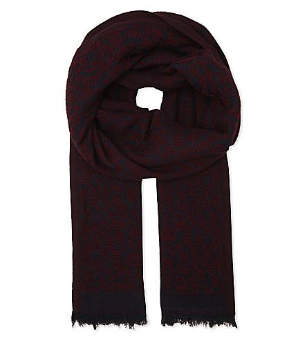 MAJE Epopee leopard print wool-silk-blend scarf (Bordeaux