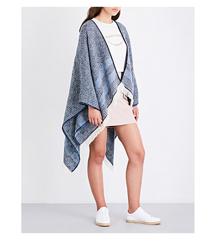 MAJE Etno knitted poncho (Blue