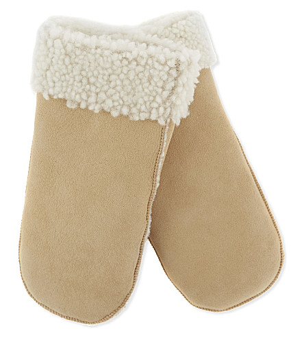 MAJE Sheepskin wool mittens (Camel