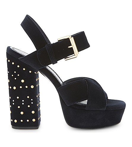 MAJE Suedette studded block heels (Night+blue