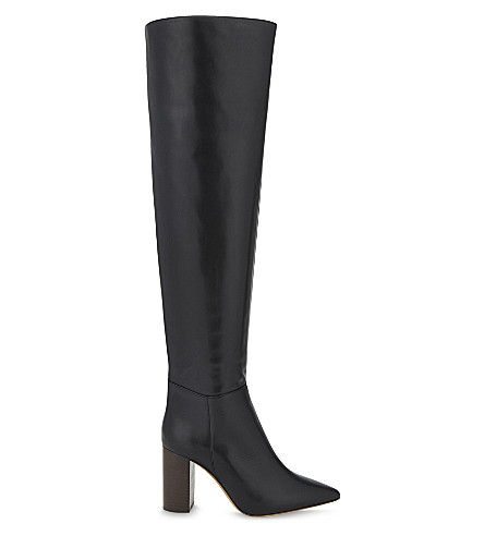 MAJE Leather knee-high boots (Black+210