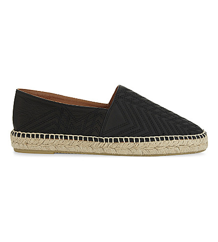 MAJE Quilted Art Deco leather espadrilles (Black+210