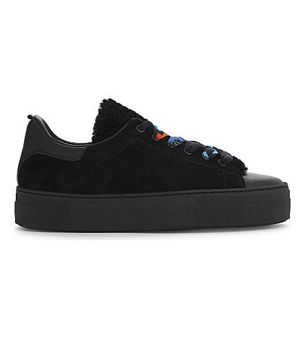 MAJE Low-top suede and leather trainers (Black+210