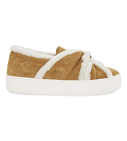 MAJE Suede trainers with shearling bow (Camel