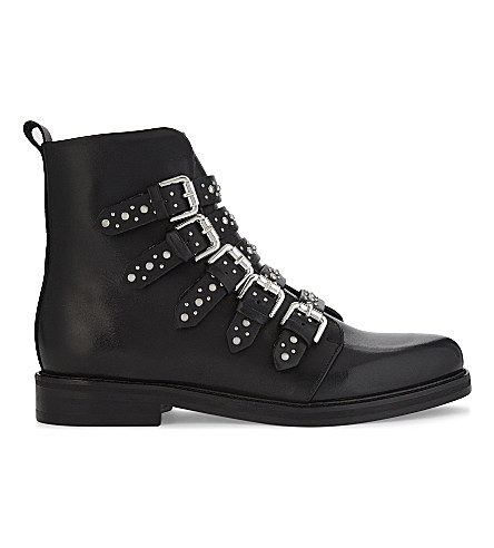 MAJE Fortune leather buckled biker boots (Black