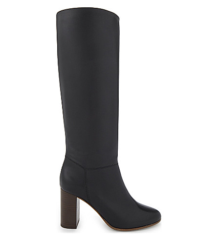 MAJE Leather mid-high boots (Black+210