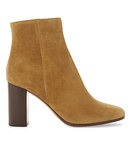 MAJE Suede heeled ankle boots (Camel