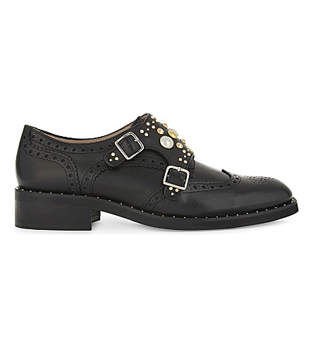 MAJE Frantz leather studded Derby shoes (Black+210