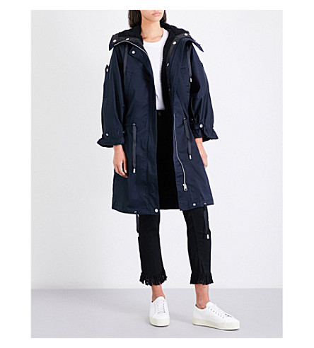 MAJE Gabina faux fur-lined stretch-cotton coat (Navy