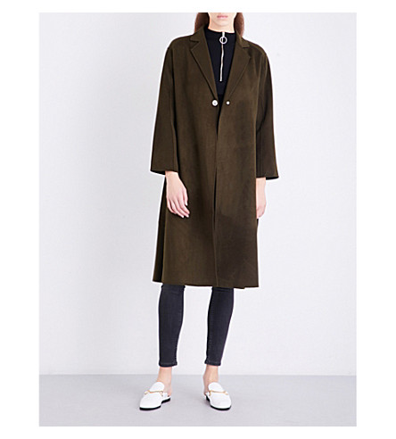 MAJE Galib single-breasted wool-blend coat (Khaki