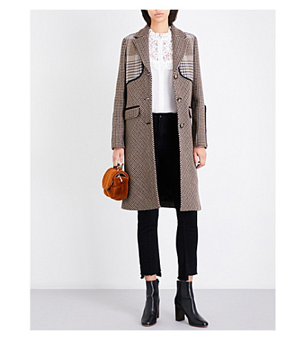 MAJE Galilee houndstooth wool-blend coat (Multi-coloured