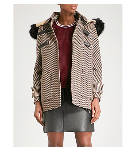 MAJE Galou faux-fur trimmed checked cotton-blend coat (Jacquard