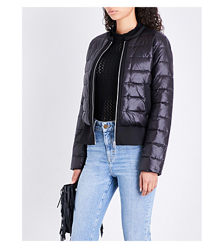 MAJE Gaya flared-hem shell-down puffer jacket (Black