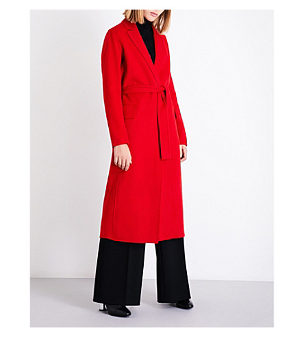 MAJE Open-front wool-blend coat (Red