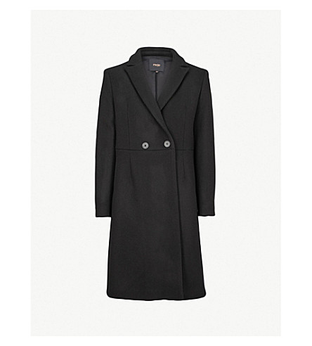 MAJE Panelled wool and cashmere-blend coat (Black