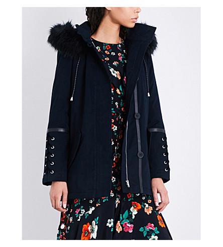 MAJE Gobo lace-up-detail stretch-cotton coat (Blue