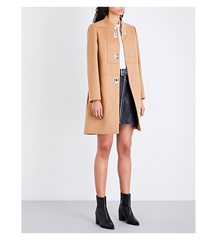 MAJE Godiva high-neck wool and cashmere-blend coat (Tan