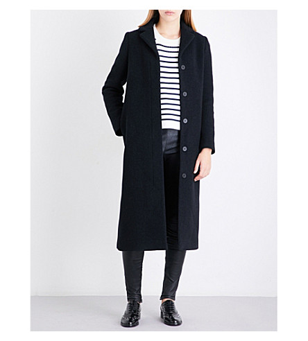 MAJE Greaty single-breasted wool-blend coat (Anthracite