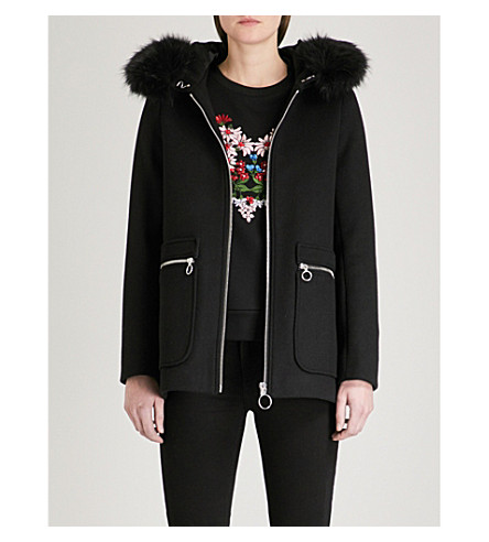 MAJE Grelo faux fur-trim wool-blend coat (Black