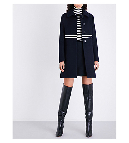 MAJE Grex striped-trim wool and cashmere-blend coat (Blue